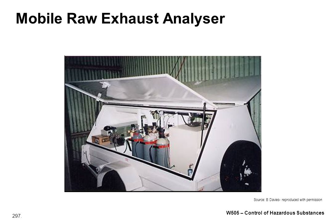 297. W505 – Control of Hazardous Substances Mobile Raw Exhaust Analyser Source: B Davies- reproduced with permission