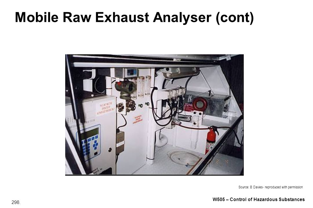 298. W505 – Control of Hazardous Substances Mobile Raw Exhaust Analyser (cont) Source: B Davies- reproduced with permission