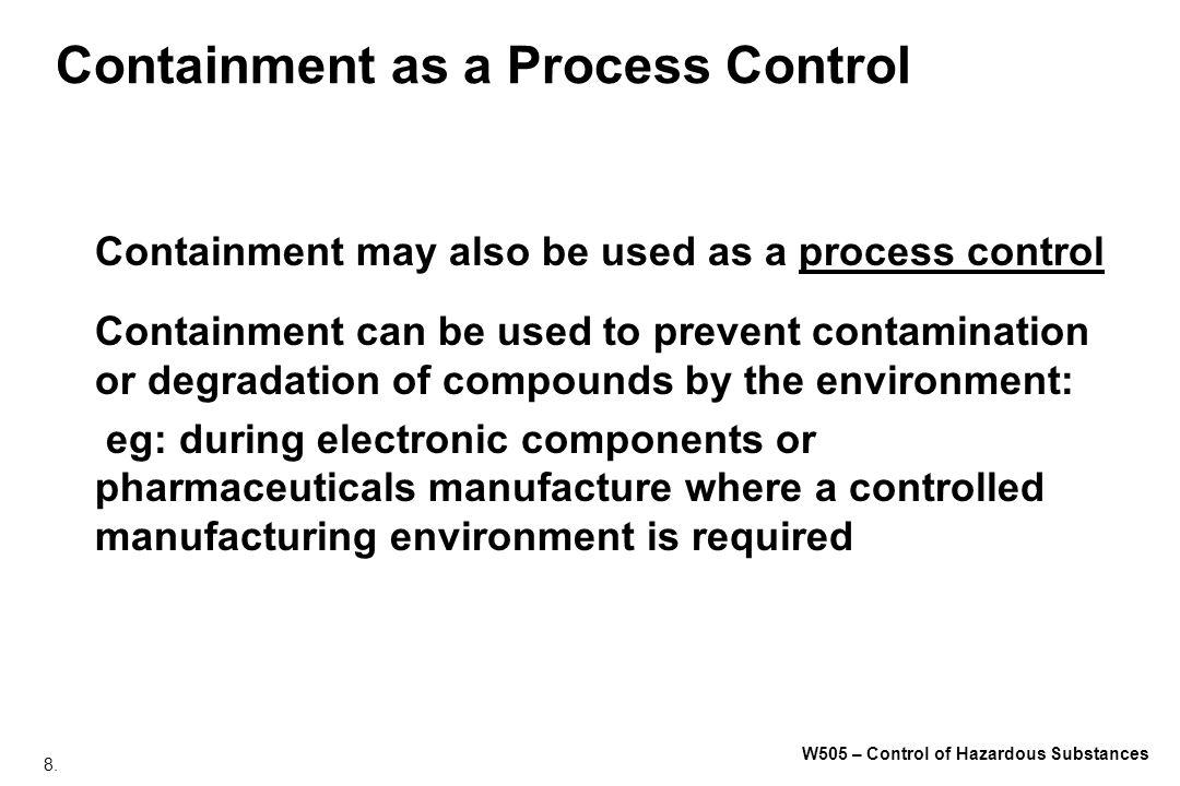 179. W505 – Control of Hazardous Substances Administrative Elements