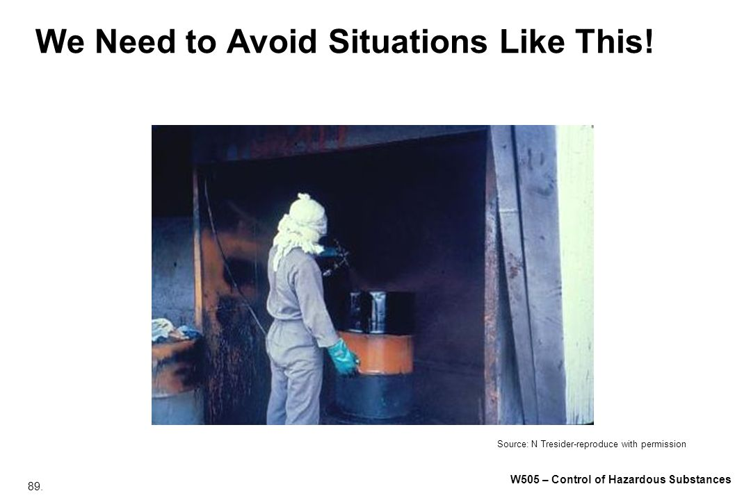 89. W505 – Control of Hazardous Substances We Need to Avoid Situations Like This! Source: N Tresider-reproduce with permission