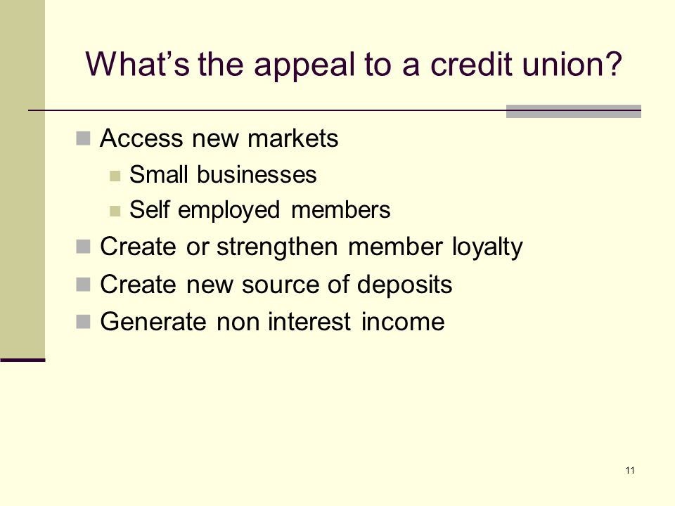 11 Whats the appeal to a credit union.