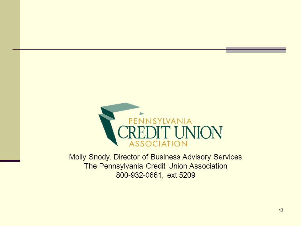 43 Molly Snody, Director of Business Advisory Services The Pennsylvania Credit Union Association 800-932-0661, ext 5209
