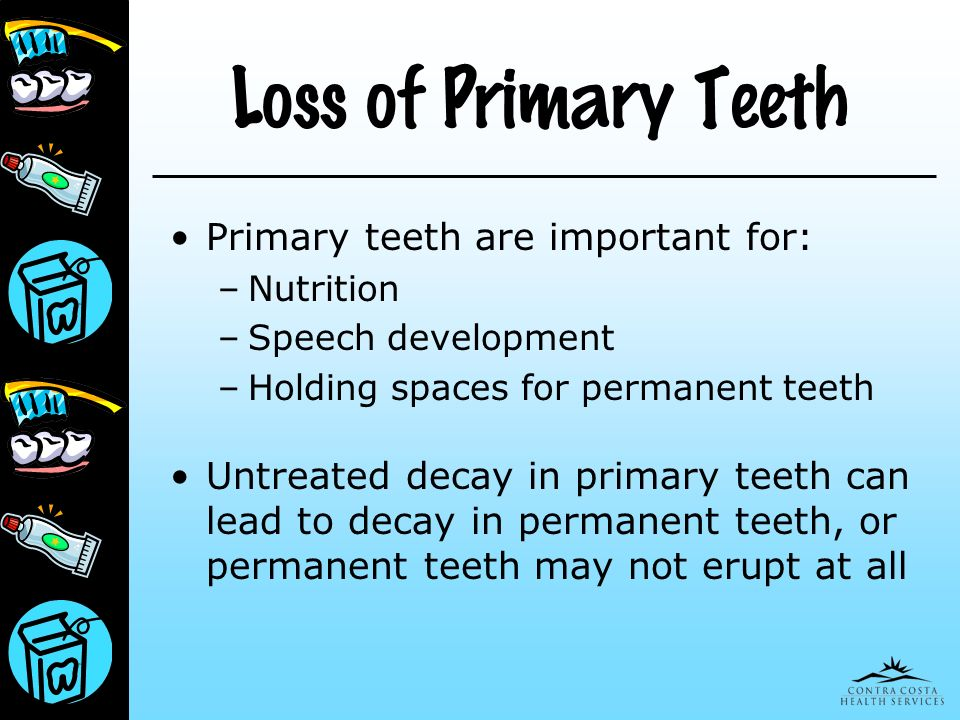 Loss of Primary Teeth Primary teeth are important for: – Nutrition – Speech development – Holding spaces for permanent teeth Untreated decay in primar