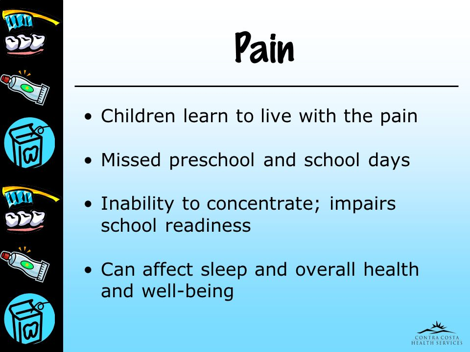 Pain Children learn to live with the pain Missed preschool and school days Inability to concentrate; impairs school readiness Can affect sleep and ove