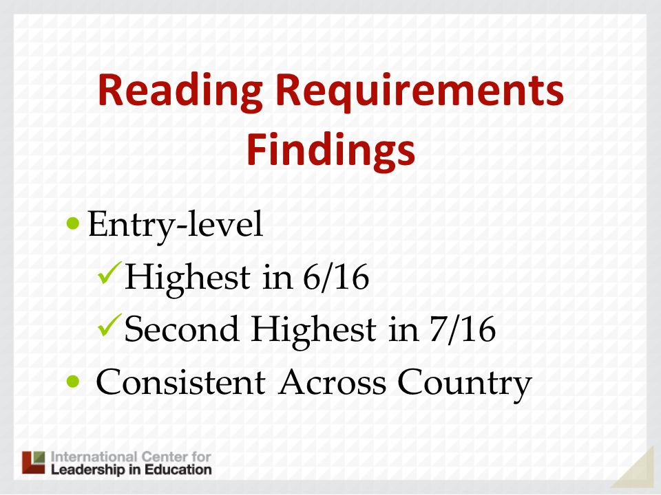Reading Requirements Findings Entry-level Highest in 6/16 Second Highest in 7/16 Consistent Across Country