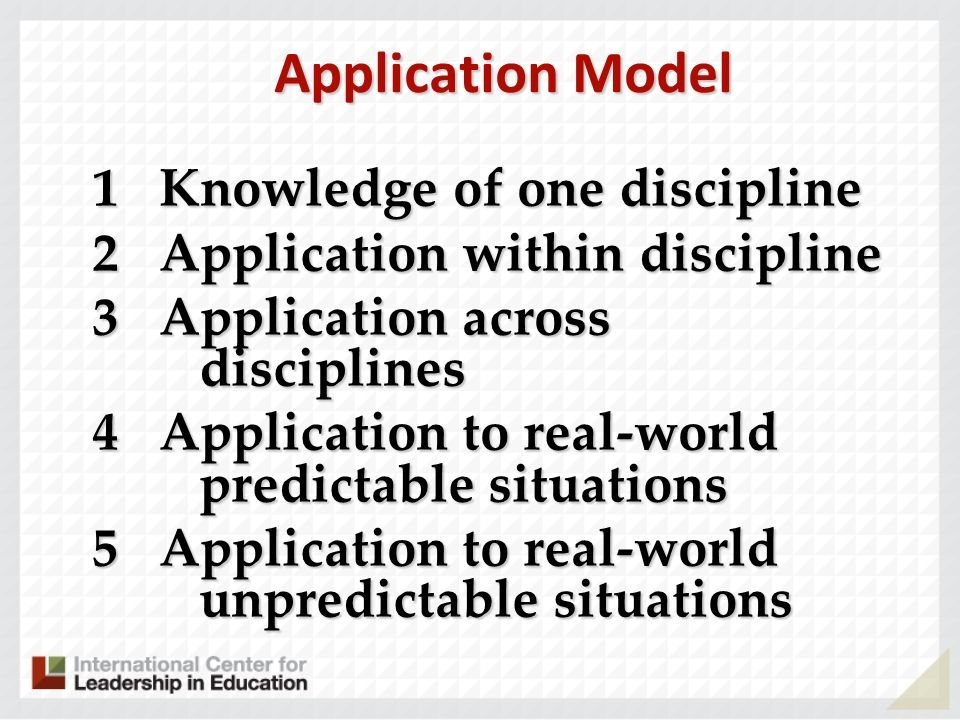 Application Model 1 Knowledge of one discipline 2 Application within discipline 3 Application across disciplines 4 Application to real-world predictab