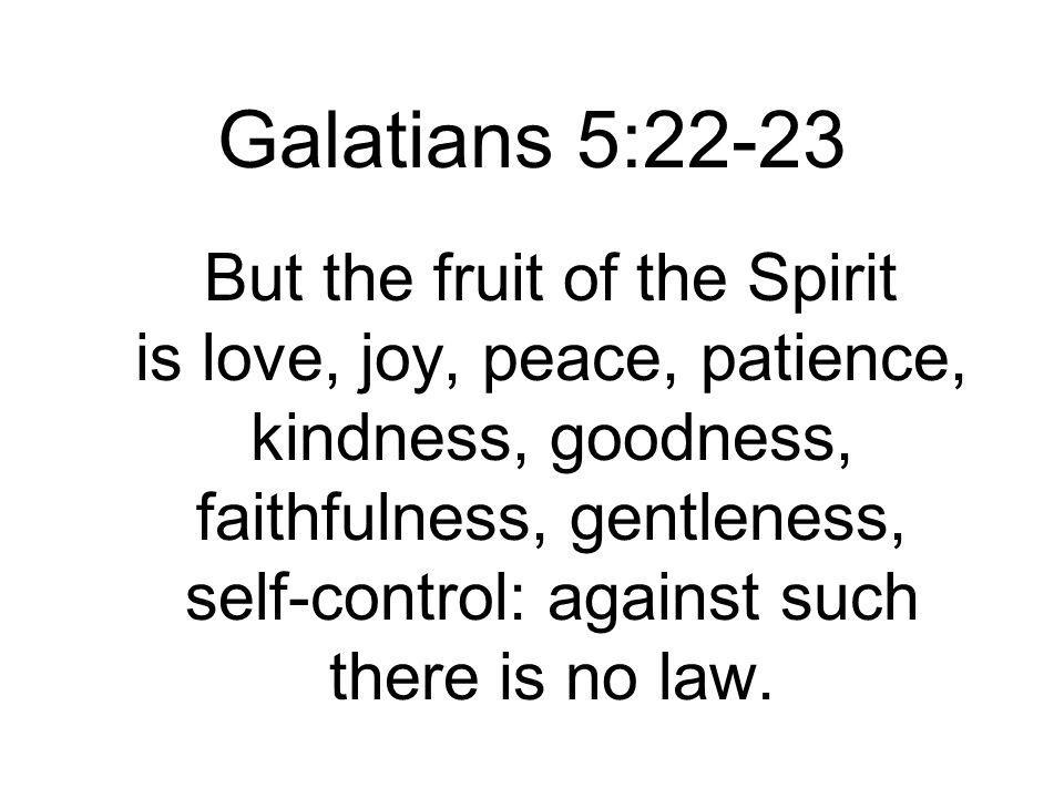 But the fruit of the Spirit is love, joy, peace, patience, kindness, goodness, faithfulness, gentleness, self-control: against such there is no law.