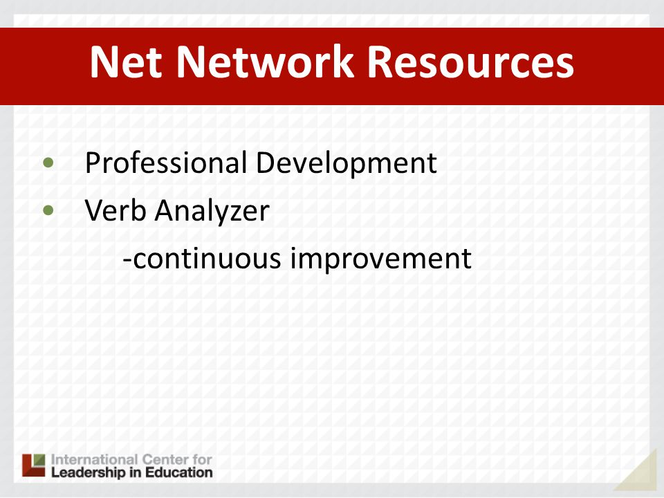 Net Network Resources Professional Development Verb Analyzer -continuous improvement