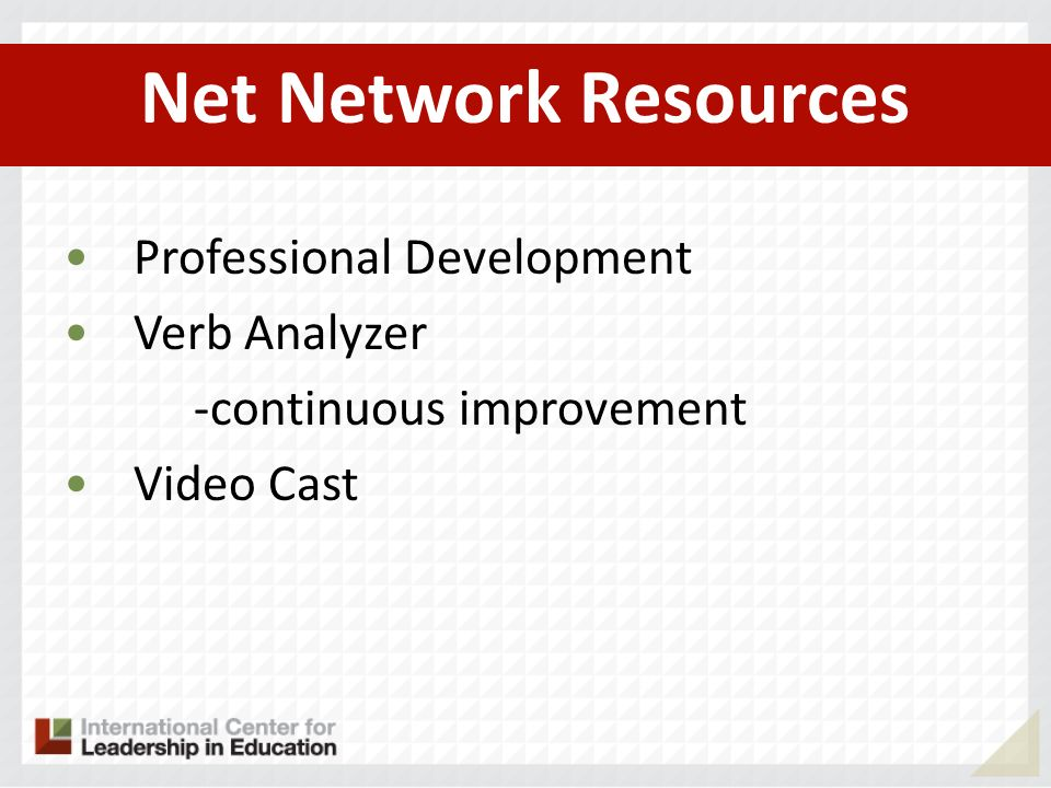 Net Network Resources Professional Development Verb Analyzer -continuous improvement Video Cast