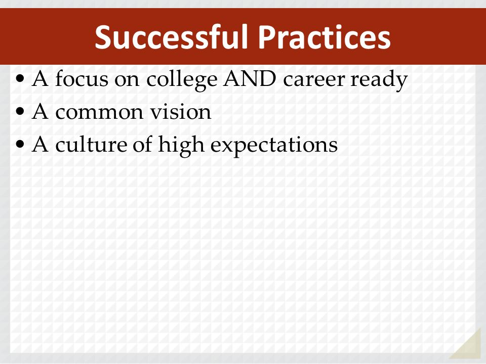 A focus on college AND career ready A common vision A culture of high expectations Successful Practices