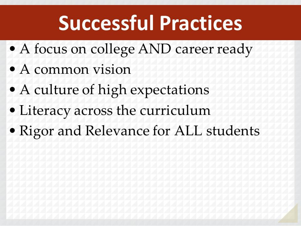 A focus on college AND career ready A common vision A culture of high expectations Literacy across the curriculum Rigor and Relevance for ALL students