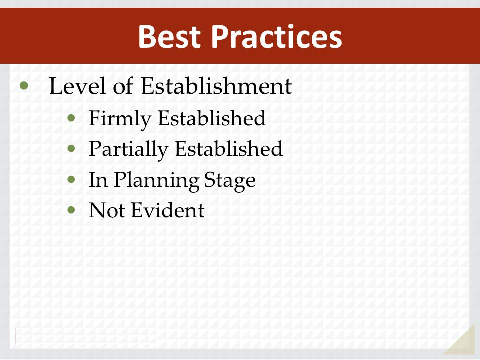 Level of Establishment Firmly Established Partially Established In Planning Stage Not Evident Best Practices