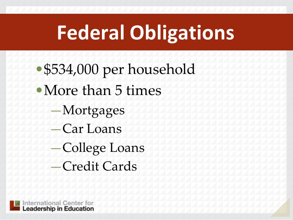 Federal Obligations $534,000 per household More than 5 times Mortgages Car Loans College Loans Credit Cards
