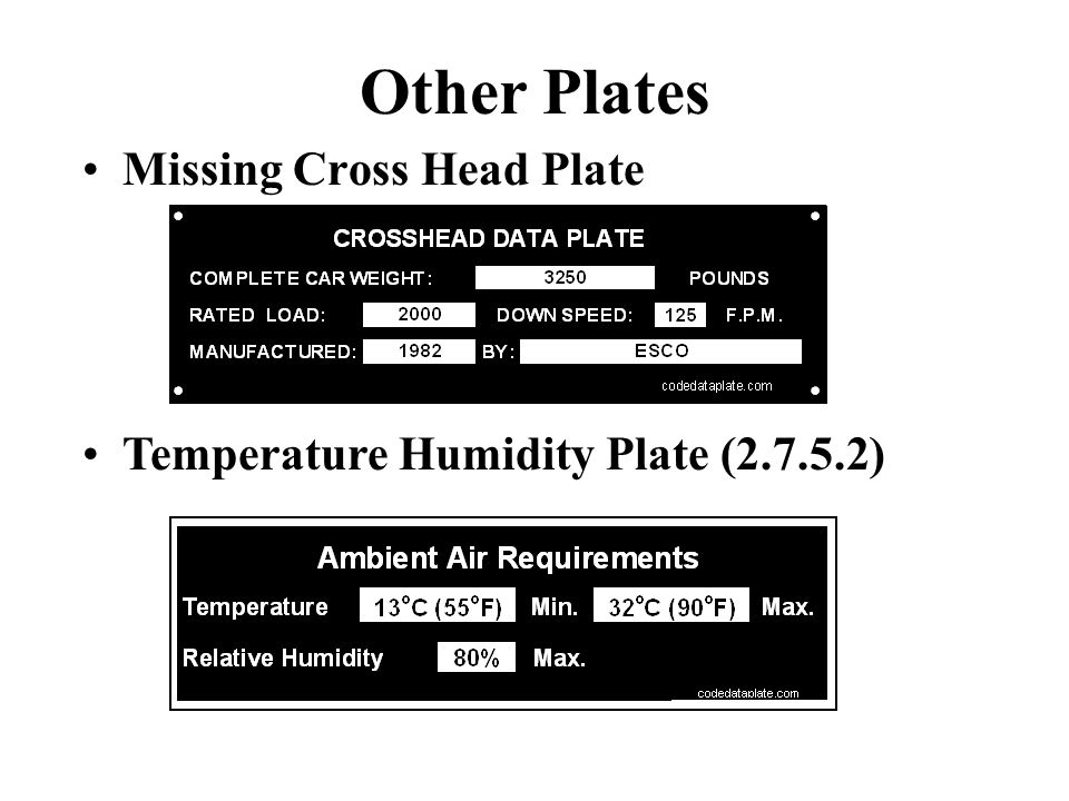 Other Plates Missing Cross Head Plate Temperature Humidity Plate (2.7.5.2)
