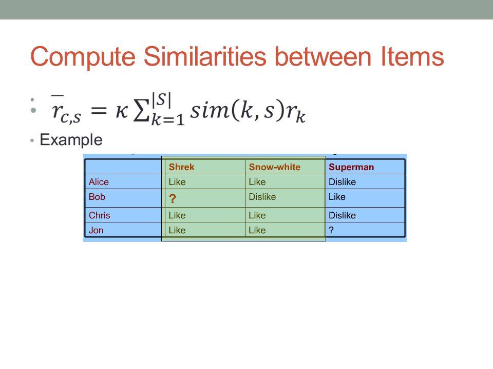 Compute Similarities between Items