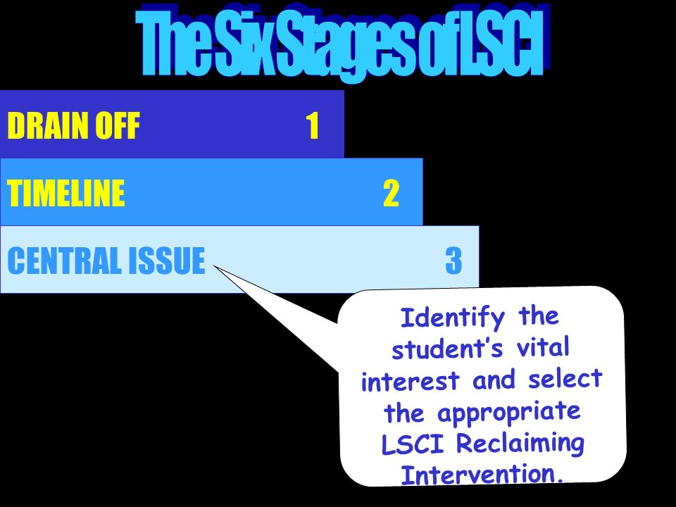 DRAIN OFF TIMELINE 1 2 CENTRAL ISSUE3 Identify the students vital interest and select the appropriate LSCI Reclaiming Intervention.