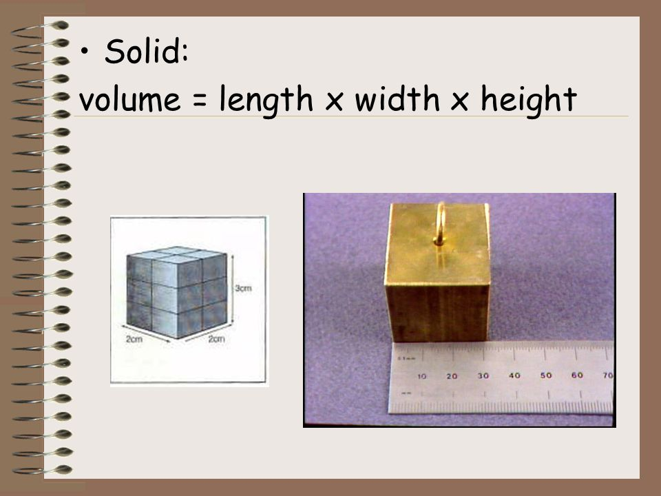 Solid: volume = length x width x height