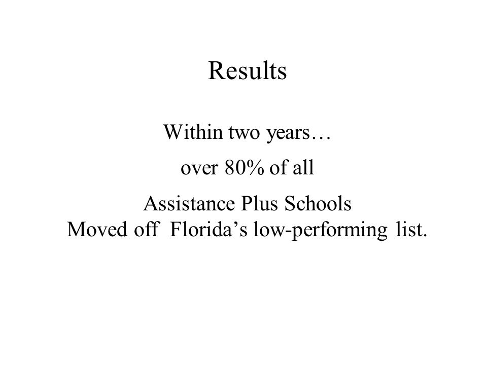 Results Within two years… over 80% of all Assistance Plus Schools Moved off Floridas low-performing list.