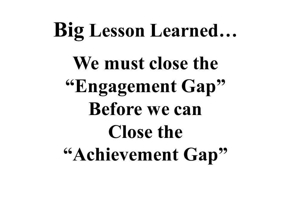 Big Lesson Learned… We must close the Engagement Gap Before we can Close the Achievement Gap