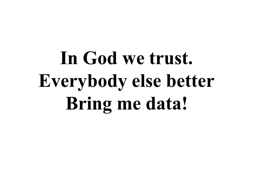 Everybody else better Bring me data!