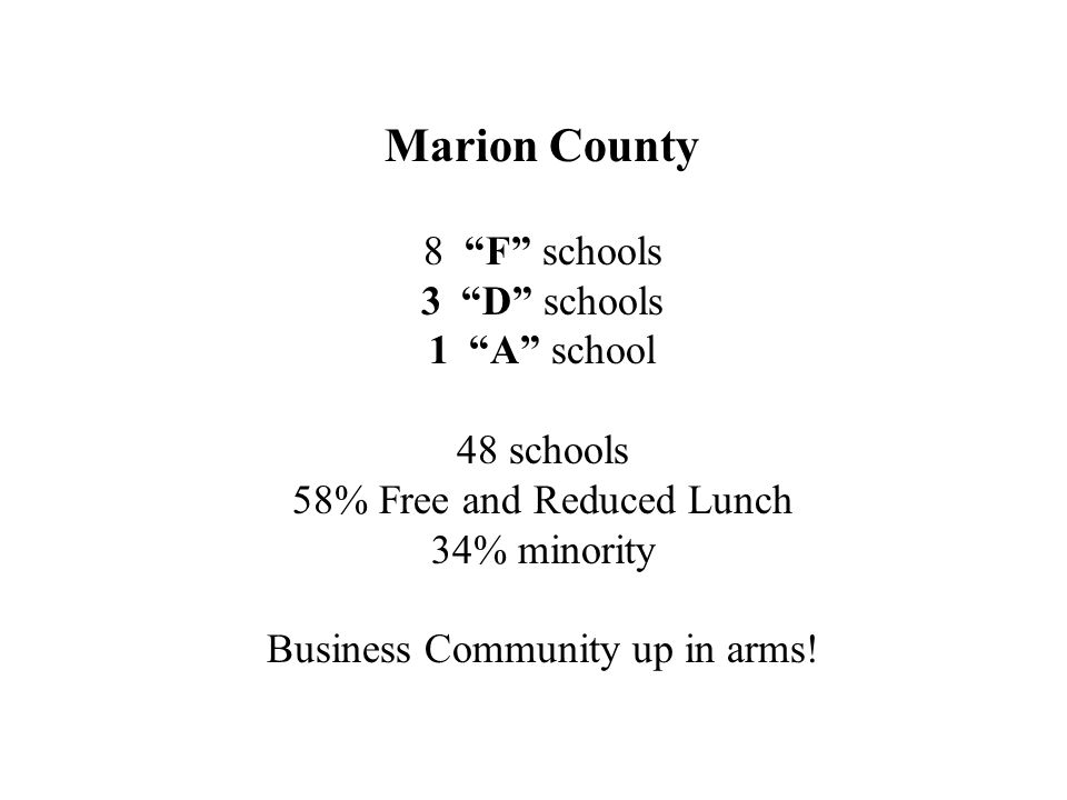 Marion County 8 F schools 3D schools 1A school 48 schools 58% Free and Reduced Lunch 34% minority Business Community up in arms!