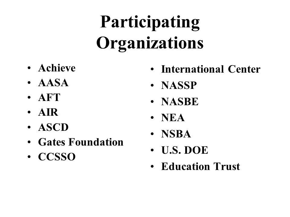 Participating Organizations Achieve AASA AFT AIR ASCD Gates Foundation CCSSO International Center NASSP NASBE NEA NSBA U.S. DOE Education Trust