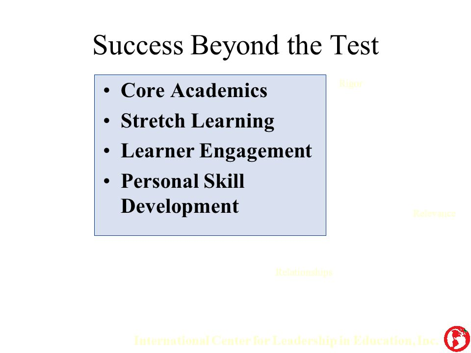 Success Beyond the Test Core Academics Stretch Learning Learner Engagement Personal Skill Development International Center for Leadership in Education