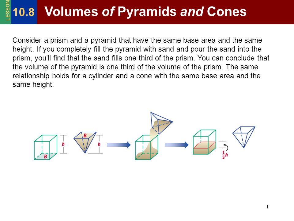 1 Consider a prism and a pyramid that have the same base area and the same height. If you completely fill the pyramid with sand and pour the sand into