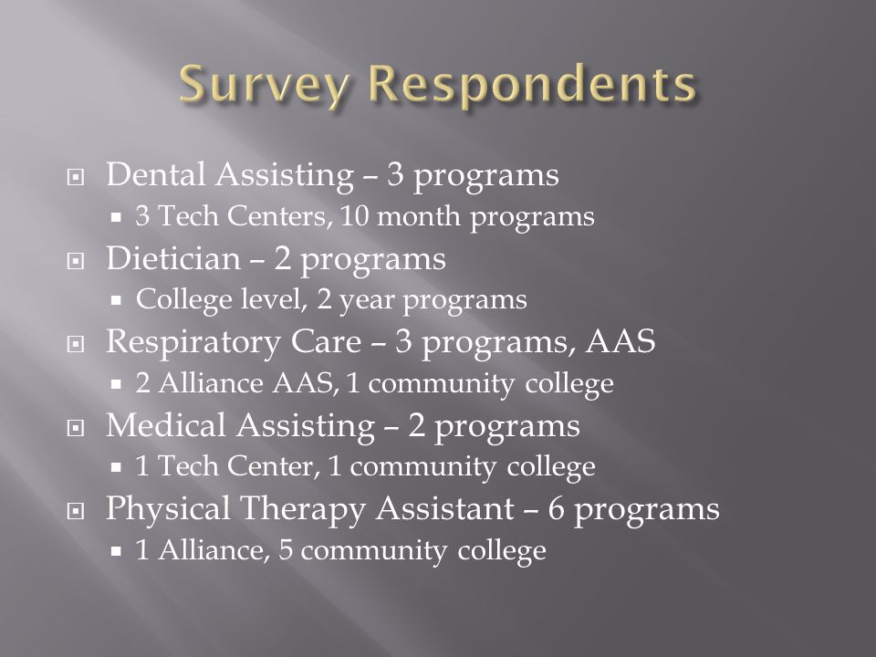 Dental Assisting – 3 programs 3 Tech Centers, 10 month programs Dietician – 2 programs College level, 2 year programs Respiratory Care – 3 programs, A