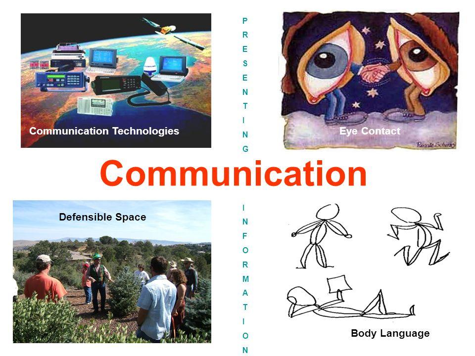 Communication Eye ContactCommunication Technologies Defensible Space Body Language PRESENTINGPRESENTING INFORMATIONINFORMATION