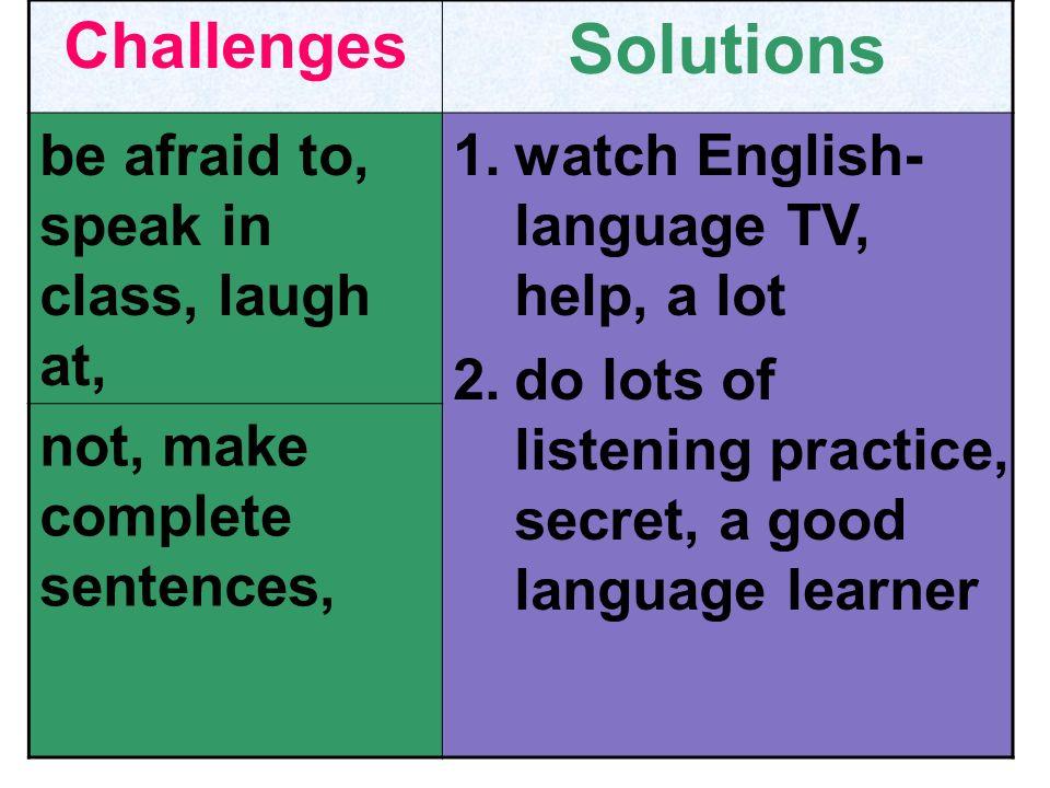 ChallengesSolutions teacher, speak, too quickly, not understand not, matter, if, not, understand, every word