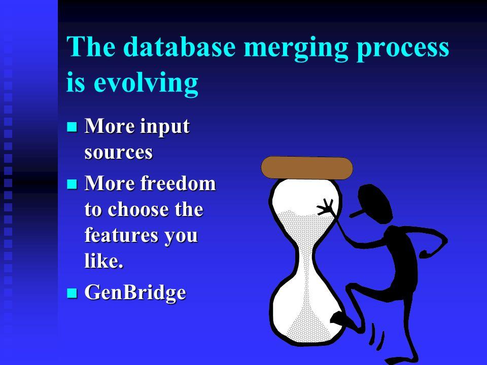 MERGING DATABASES merging the databases merging the databases merging the duplicated individuals merging the duplicated individuals merging the rest merging the rest sources sources repositories repositories