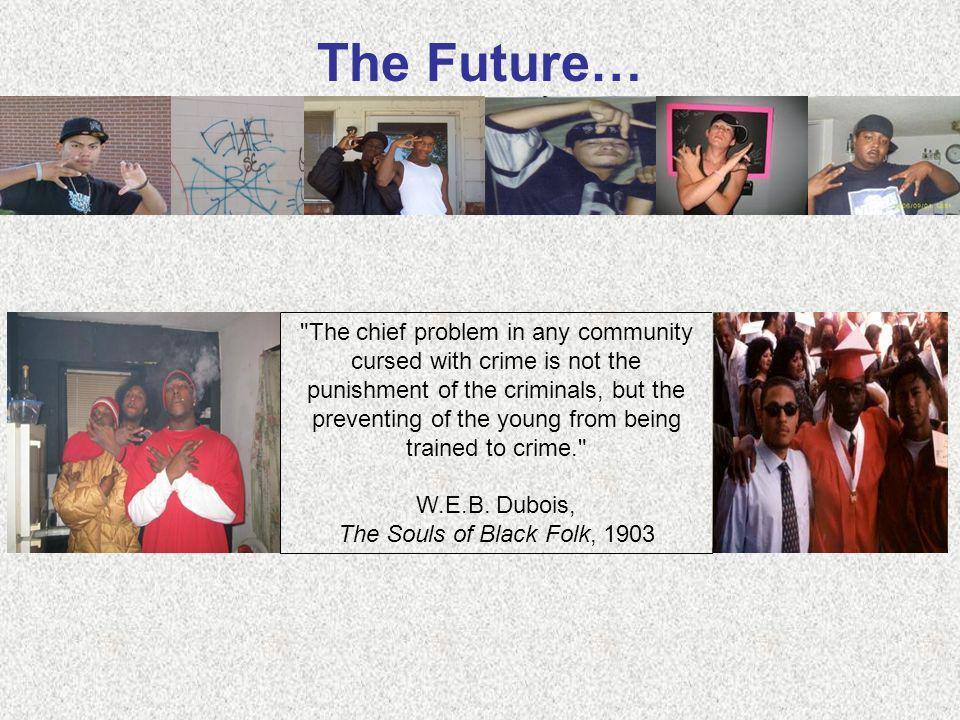 The Future… The chief problem in any community cursed with crime is not the punishment of the criminals, but the preventing of the young from being trained to crime. W.E.B.