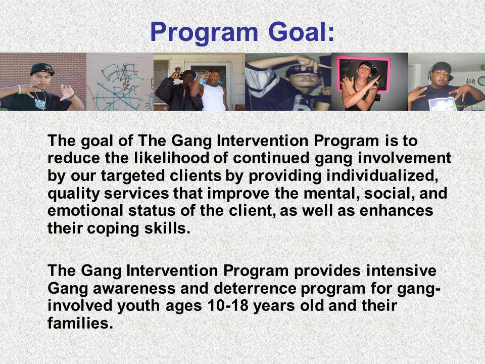 The goal of The Gang Intervention Program is to reduce the likelihood of continued gang involvement by our targeted clients by providing individualize