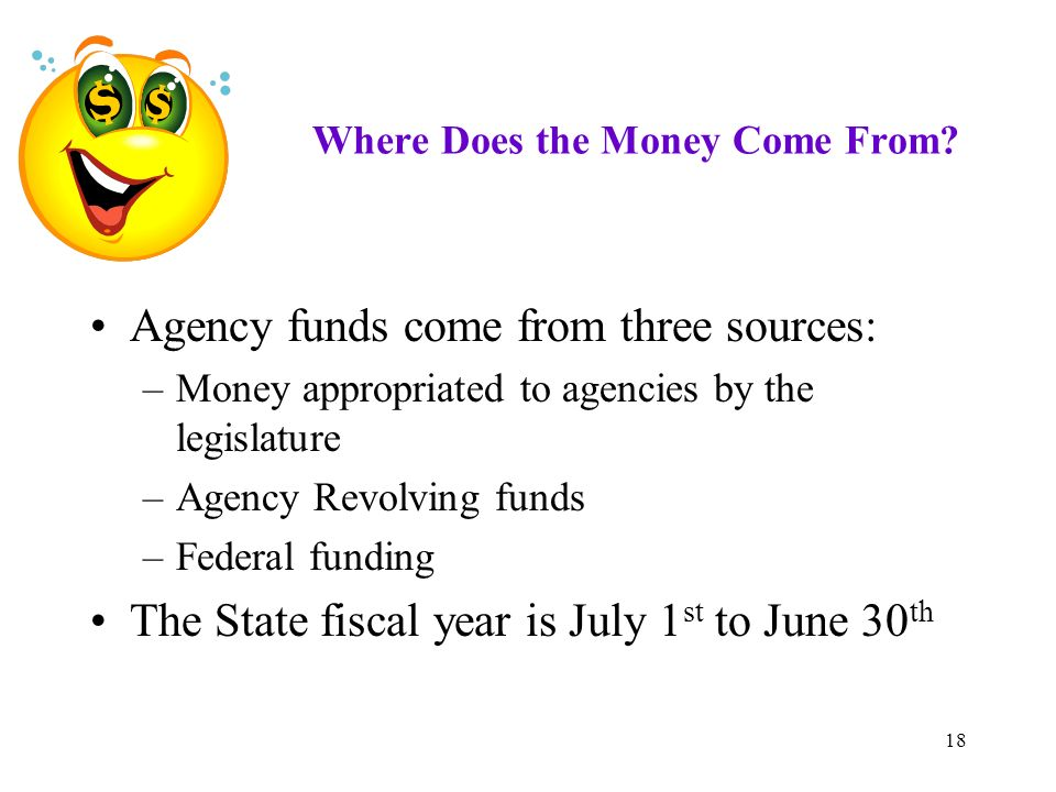 18 Where Does the Money Come From? Agency funds come from three sources: –Money appropriated to agencies by the legislature –Agency Revolving funds –F
