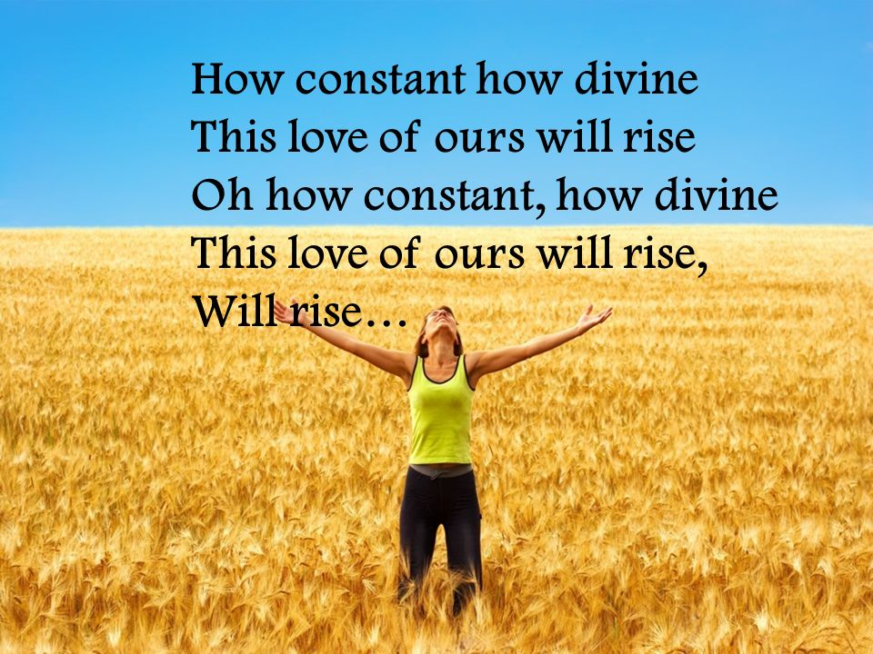 How constant how divine This love of ours will rise Oh how constant, how divine This love of ours will rise, Will rise…