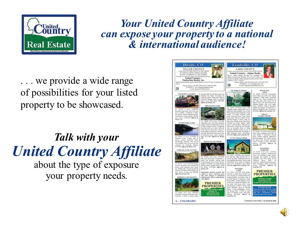 Your United Country Affiliate can expose your property to a national & international audience!...