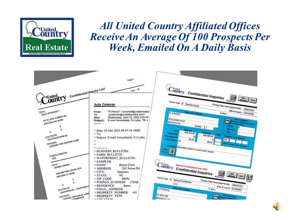 All United Country Affiliated Offices Receive An Average Of 100 Prospects Per Week, Emailed On A Daily Basis