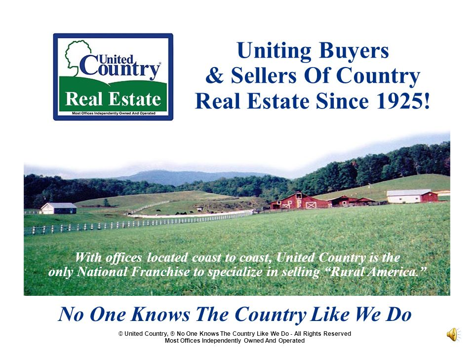 Uniting Buyers & Sellers Of Country Real Estate Since 1925.