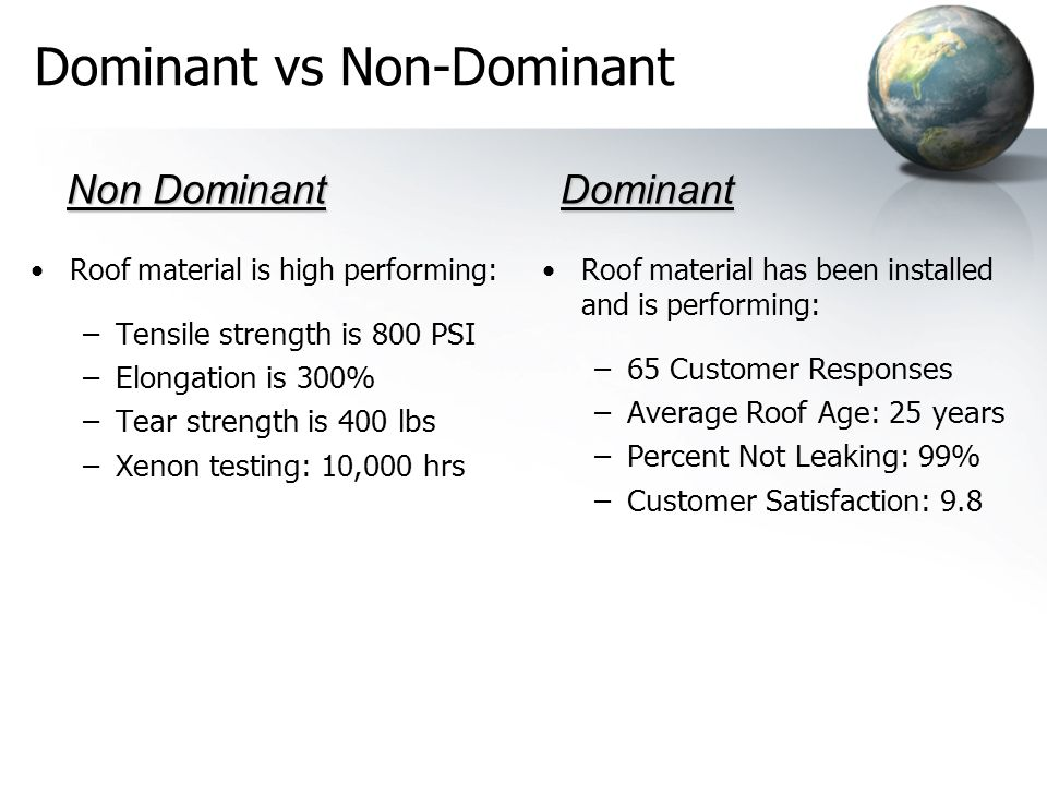 Dominant vs Non-Dominant Roof material is high performing: –Tensile strength is 800 PSI –Elongation is 300% –Tear strength is 400 lbs –Xenon testing:
