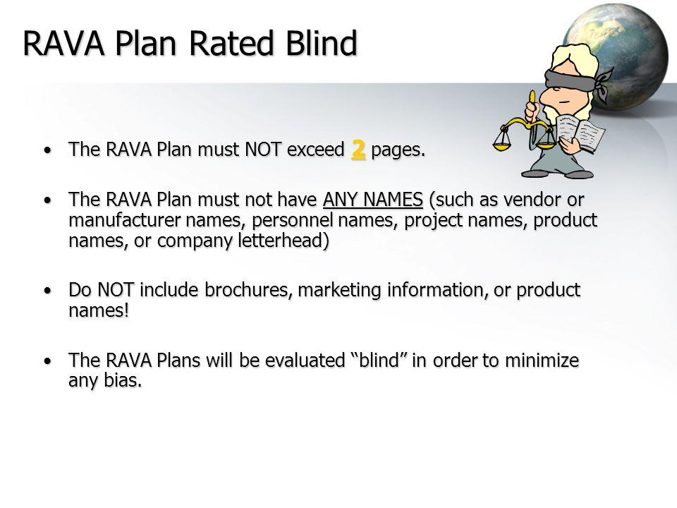 RAVA Plan Rated Blind The RAVA Plan must NOT exceed 2 pages.The RAVA Plan must NOT exceed 2 pages. The RAVA Plan must not have ANY NAMES (such as vend