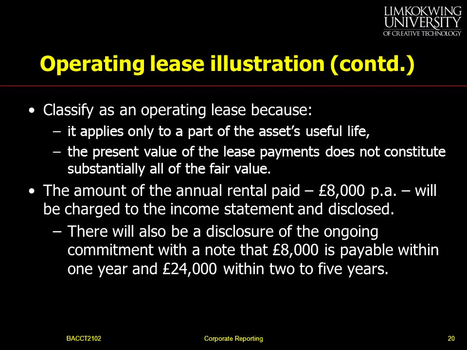 BACCT2102Corporate Reporting19 Operating lease illustration Clifford plc negotiates a lease to begin on 1 January 20X1 with the following terms: –term