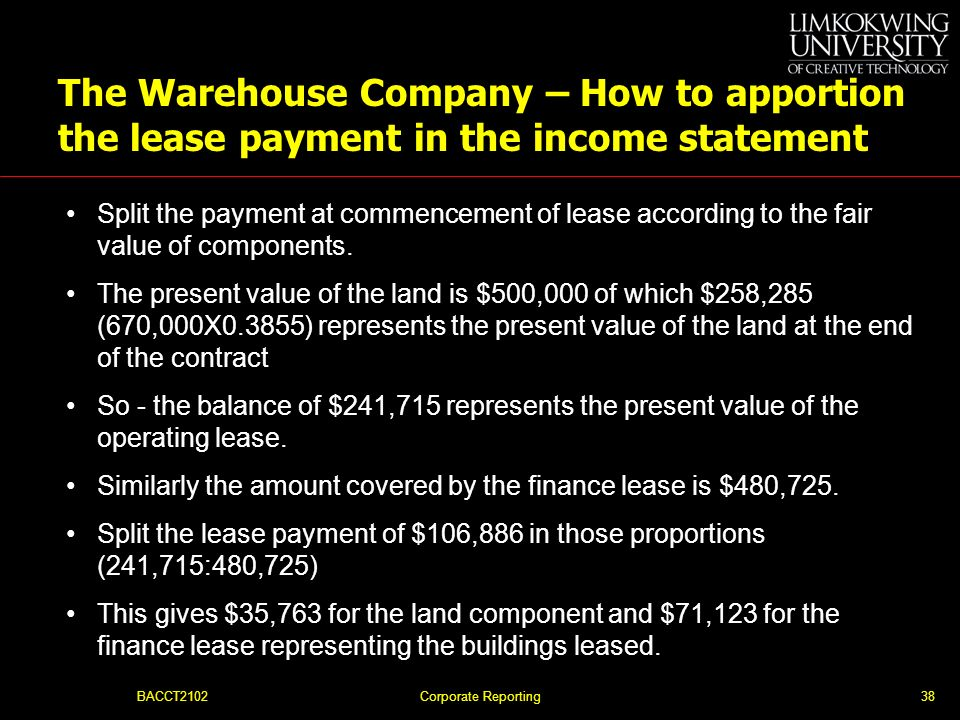 BACCT2102Corporate Reporting37 The Warehouse Company – Classifying the building segment of the lease The building segment of the lease is different. T
