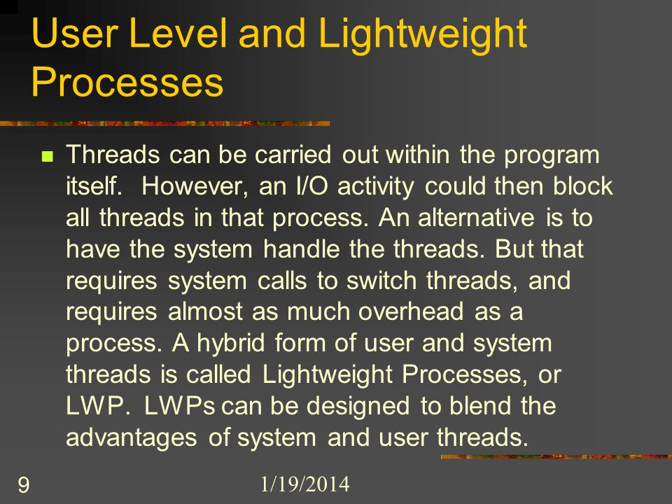 1/19/2014 9 User Level and Lightweight Processes Threads can be carried out within the program itself.