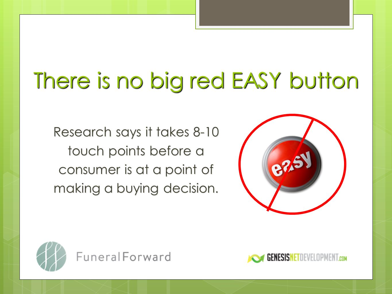 Research says it takes 8-10 touch points before a consumer is at a point of making a buying decision.