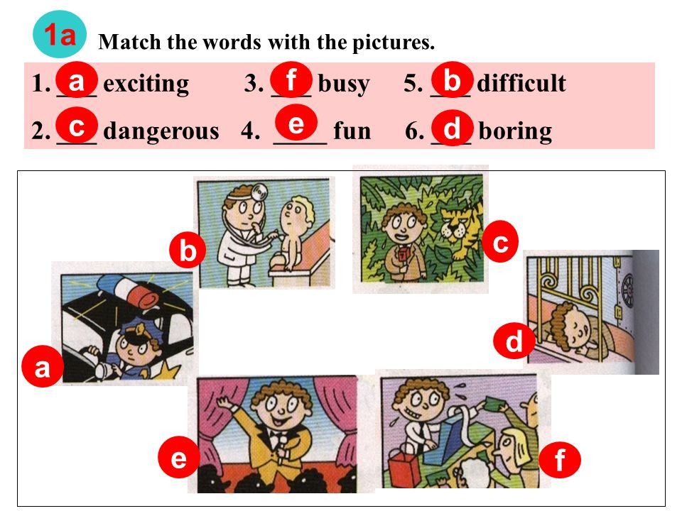 Match the words with the pictures.1a a b c d e f 1.___ exciting 3.