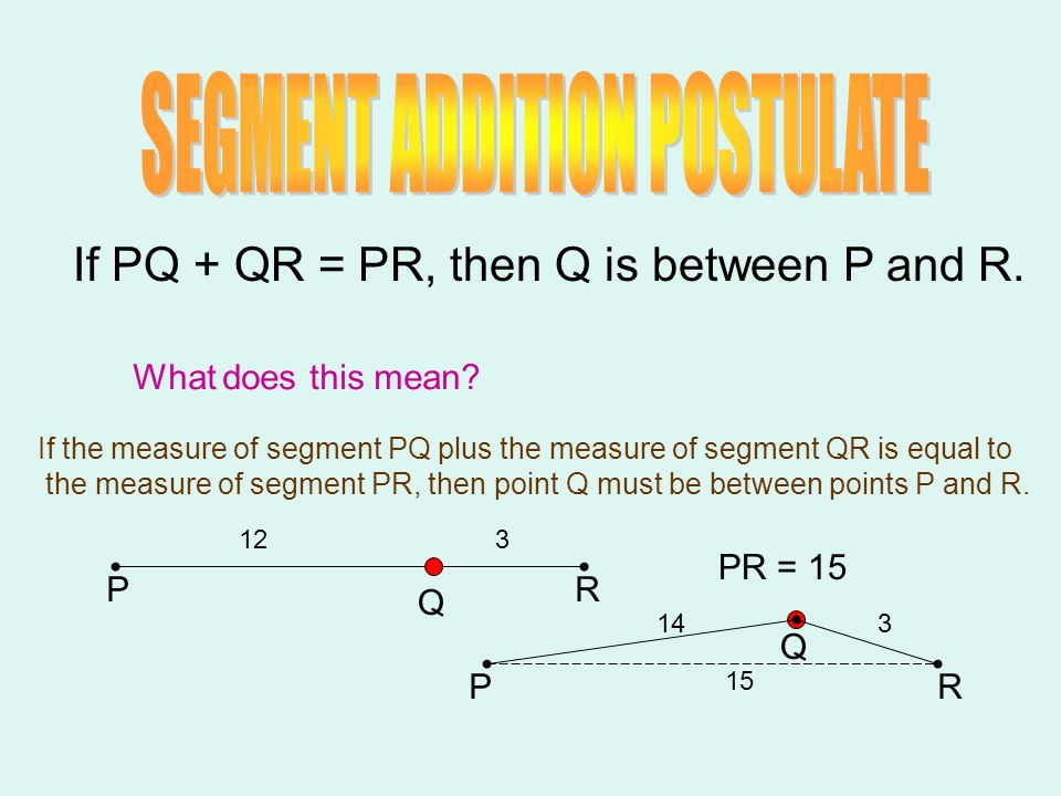 NOTE CARD Segment Addition Postulate#2 If Q is between P and R, then PQ + QR = PR.