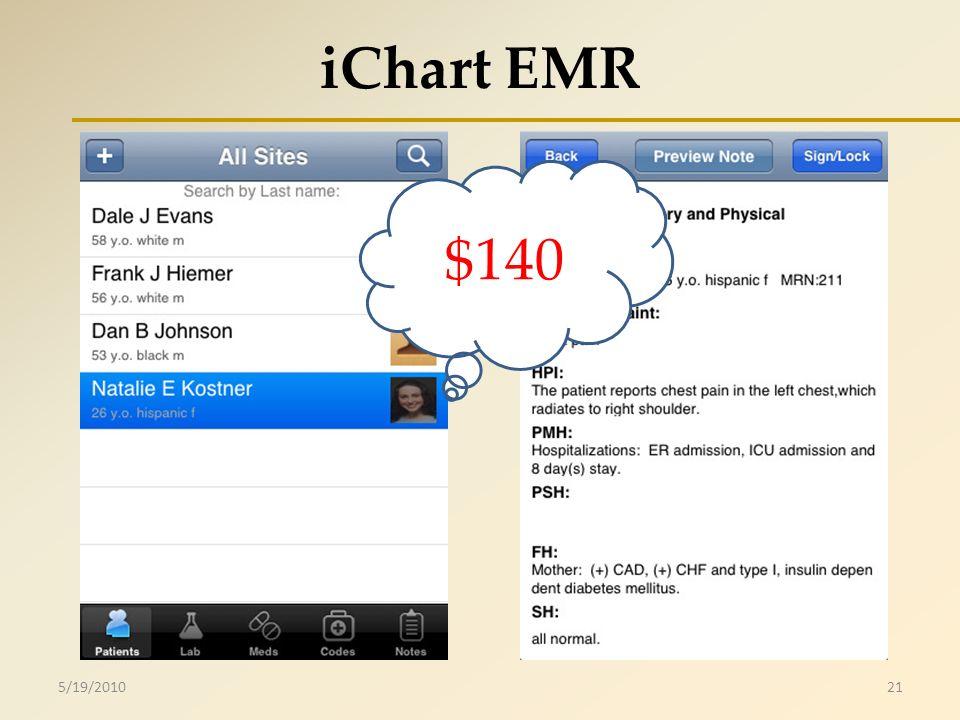 iChart EMR 5/19/201021 $140