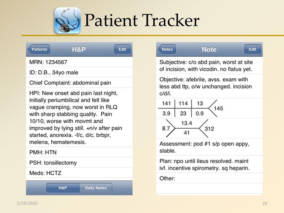 Patient Tracker 5/19/201029