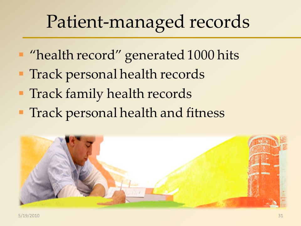 Patient-managed records health record generated 1000 hits Track personal health records Track family health records Track personal health and fitness 5/19/201031